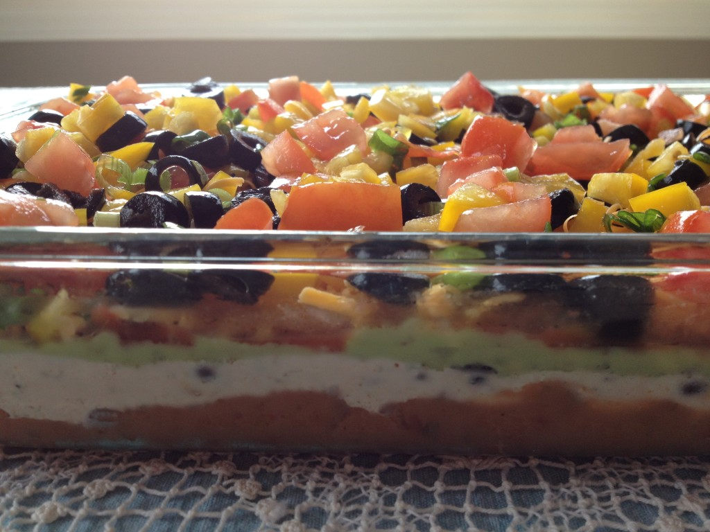 Mexican 7 layer dip- this crowd pleaser has had a healthy makeover.